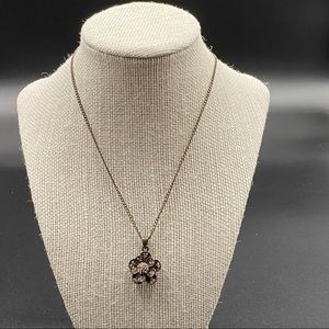 Dainty Bronze Colored Necklace w Pink Rhinestones